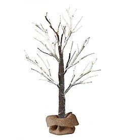 2-ft. LED Snow Tree with Burlap Sack