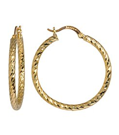 Gold-Plated Twist Hoop Earrings