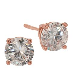 Rose Gold-Plated 6mm Cubic Zirconia Stud Earrings