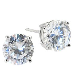 Athra Sterling Silver 8mm Cubic Zirconia Stud Earrings