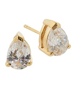 Gold-Plated Pear Cubic Zirconia Stud Earrings