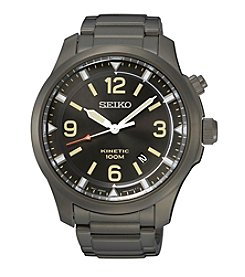 Seiko® Men's Kinetic Grey Ion Plating Watch