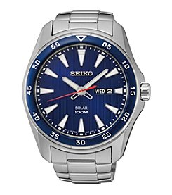 Seiko® Men's Blue Dial Blue Bezel Solar Calendar Watch