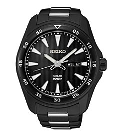 Seiko® Men's Black Ion Finish Solar Calendar Watch