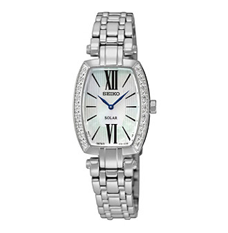 Seiko® Women's Tressia Solar Diamond Bezel Watch