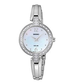 Seiko® Women's Solar Crystal Bezel Watch