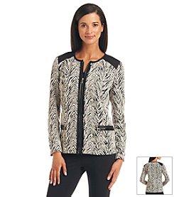 Laura Ashley® Animal Print Trim Jacket