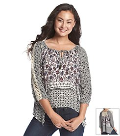 Jolt® Printed Peasant Top