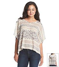 Jolt® Geo Print Poncho Sweater