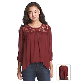 Jolt® Lace Crochet Peasant Top