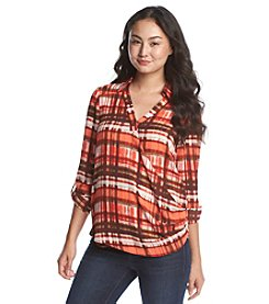XOXO® Plaid Wrap Shirt