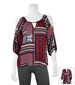 A. Byer Printed Cold Shoulder Top