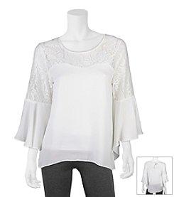 A. Byer Lace Bell Sleeve Top