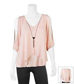 A. Byer Necklace Cold Shoulder Top