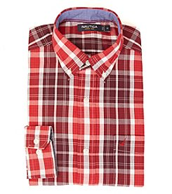 Nautica® Men's Long Sleeve Medium Plaid Poplin Button Down