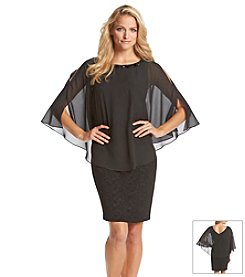 AGB® Beaded Neckline Chiffon Poncho Dress