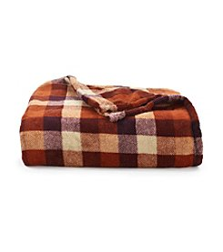 LivingQuarters Fall Plaid Micro Cozy Throw