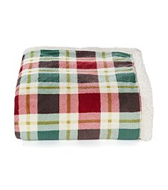 LivingQuarters Red and Green Plaid Sherpa Throw