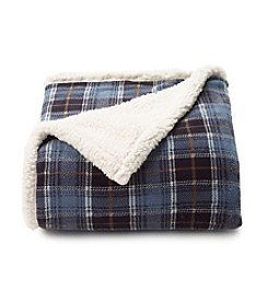 LivingQuarters Blue Plaid Sherpa Throw