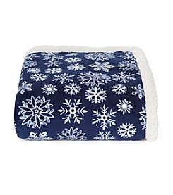 LivingQuarters Navy Snowflake Sherpa Throw