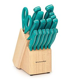 KitchenAid® 17-Pc. Teal Stamped Triple Rivet Cutlery Set