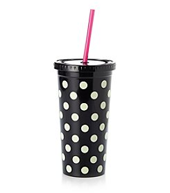 kate spade new york® Le Pavillion Black And White Dots Tumbler With Straw