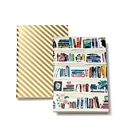 kate spade new york® Gold Stripe And Bella Bookshelf Notebook Set