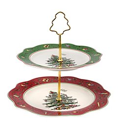 Spode® Christmas Tree Vintage Scalloped Two-Tier Cake Stand