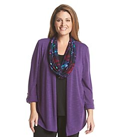 Notations® Plus Size Solid Layered Look Top