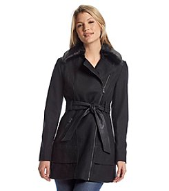 GUESS Belted Asymmetric Zip Coat