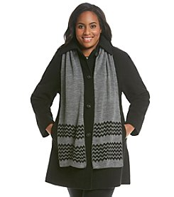 Jones New York® Plus Size Raglan Sleeve Coat With Scarf