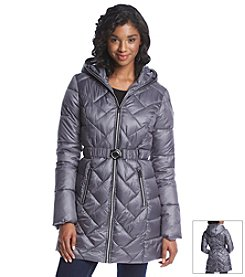 GUESS Three-Quarter Belted Puffer Coat