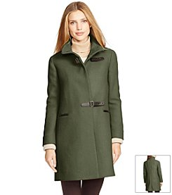 Lauren Ralph Lauren® Basketweave Funnel Neck Coat With Knit Cuffs