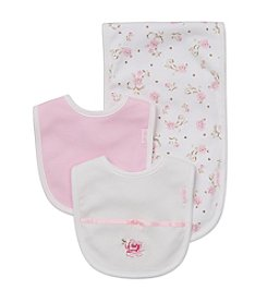 Little Me® Baby Girls' 3 Piece Rose Bib And Burp Cloth Set