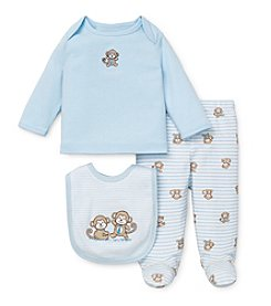 Little Me® Baby Boys Newborn-9M Three-Piece Monkey Lap Set