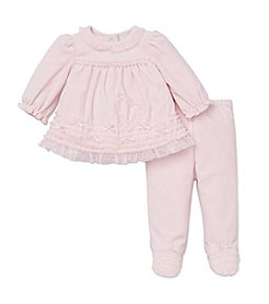 Little Me® Baby Girls' 3-9M Two-Piece Velour Heart Footie