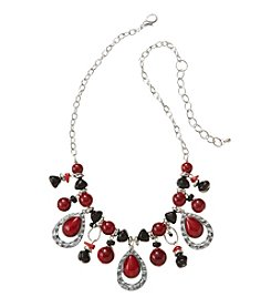 Studio Works® Red And Black Beaded Shaky Silvertone Necklace