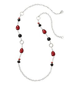 Studio Works® Red And Black Beaded Silvertone Necklace