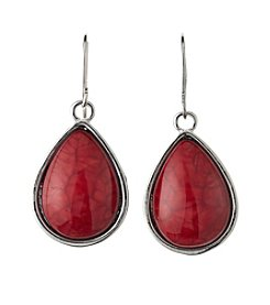 Studio Works® Red And Silvertone Teardrop Earrings