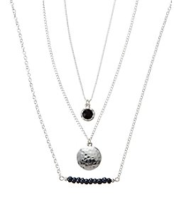 Holiday Black And Silvertone Hammered Disc Trio Necklace Set