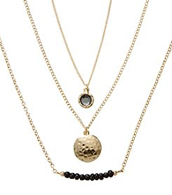 Holiday Black And Goldtone Hammered Disc Trio Necklace Set
