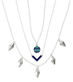 Holiday Blue And Silvertone Fringe Drops Trio Necklace Set
