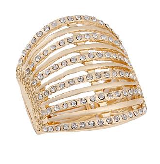 Erica Lyons® Goldtone Simulated Crystal Bar Fashion Stretch Ring