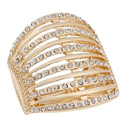 Erica Lyons® Goldtone Simulated Crystal Bar Fashion Stretch Ring
