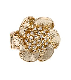 Erica Lyons® Goldtone Cast Flower Fashion Stretch Ring