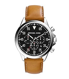Michael Kors Men's Silvertone And Brown Leather Gage Watch