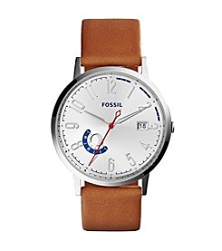 Fossil® Women's Silvertone Vintage Muse Multifunction Watch With Light Brown Leather Strap
