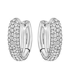 Swarovski® Silvertone Circlet Hoop Earrings