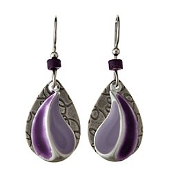 Silver Forest® Purple And Silvertone Earrings