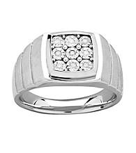 Men's .10 Ct. T.W. Diamond Ring In Sterling Silver